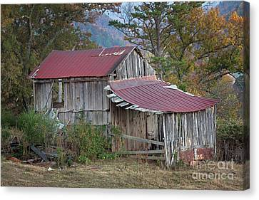 Canvas Print featuring the photograph Rustic Weathered Hillside Barn by John Stephens