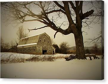 Rustic White Barn In Winter - Boone N.c.  Canvas Print