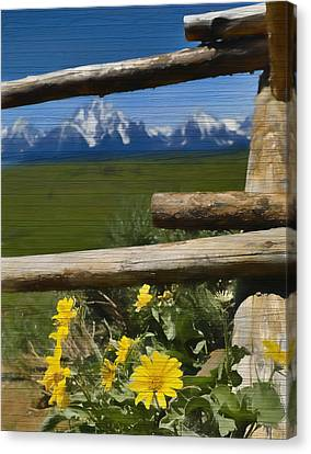 Rustic Wildflowers And Tetons Canvas Print