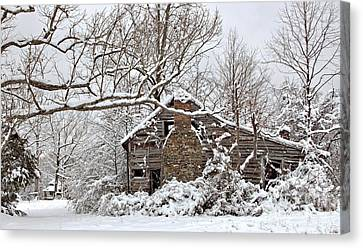 Rustic Winter Cabin Canvas Print by Benanne Stiens