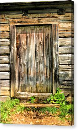 Rustic Wooden Door At Old World Wisconsin Canvas Print by Christopher Arndt