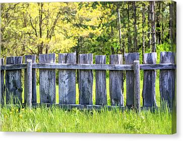 Rustic Wooden Fence At Old World Wisconsin Canvas Print