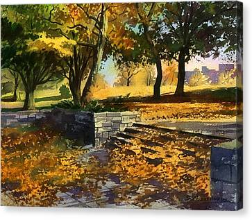 Canvas Print featuring the painting Rustling Of Autumn Leaves by Sergey Zhiboedov