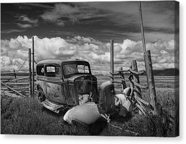 Rusty Auto Wreck Abandoned Out West In Black And White Canvas Print by Randall Nyhof