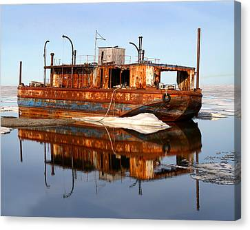 Rusty Barge Canvas Print by Anthony Jones