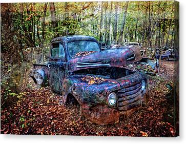 Canvas Print featuring the photograph Rusty Blue Vintage Ford  Truck by Debra and Dave Vanderlaan