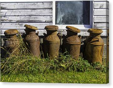 Rusty Milk Cans Canvas Print by Garry Gay