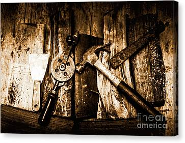 Rusty Old Hand Tools On Rustic Wooden Surface Canvas Print