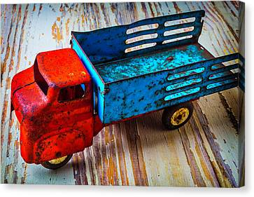 Rusty Red Blue Truck Canvas Print