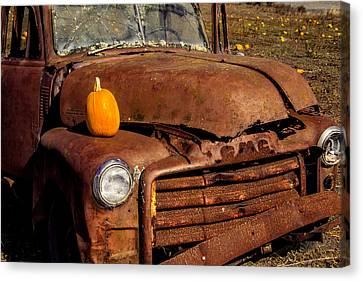 Truck Canvas Print - Rusty Truck In Pumpkin Field by Garry Gay