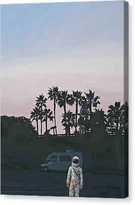 Canvas Print featuring the painting Rv Dusk by Scott Listfield