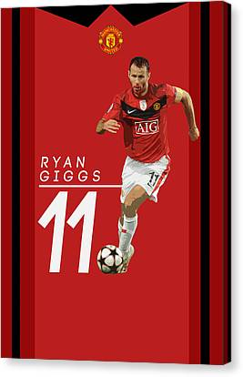 Wayne Rooney Canvas Print - Ryan Giggs by Semih Yurdabak