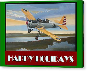 Ryan Pt-22 Happy Holidays Canvas Print by Stuart Swartz