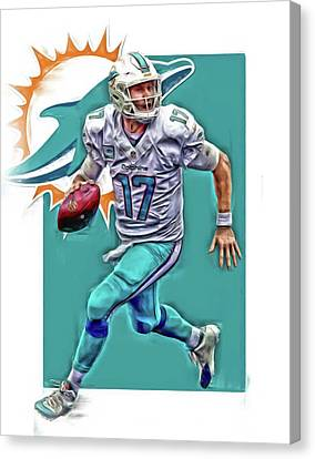 Dolphin Canvas Print - Ryan Tannehill Miami Dolphins Oil Art by Joe Hamilton