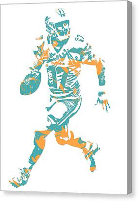 Dolphin Canvas Print - Ryan Tannehill Miami Dolphins Pixel Art 1 by Joe Hamilton