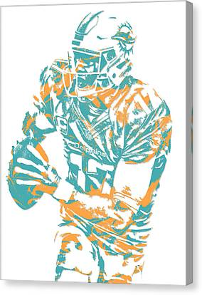Dolphin Canvas Print - Ryan Tannehill Miami Dolphins Pixel Art 2 by Joe Hamilton