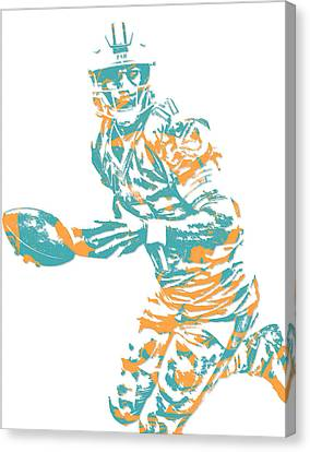 Dolphin Canvas Print - Ryan Tannehill Miami Dolphins Pixel Art 3 by Joe Hamilton
