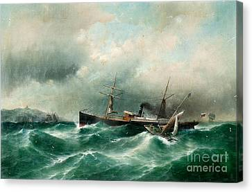S S Capella On A Stormy Sea. Canvas Print by Celestial Images