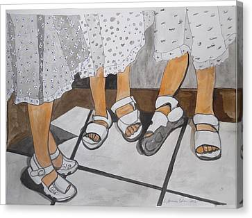 Canvas Print featuring the painting Sabbath Sandals by Esther Newman-Cohen