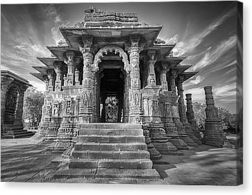 Canvas Print featuring the photograph Sabhamandapa, Modhera, 2008 by Hitendra SINKAR