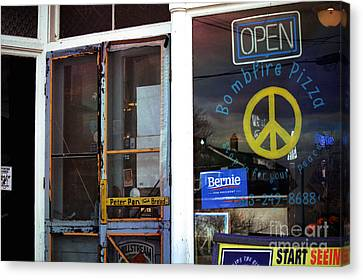 Screen Doors Canvas Print - Sabula Iowa Pizza Joint Front Entrance by Laura Birr Brown