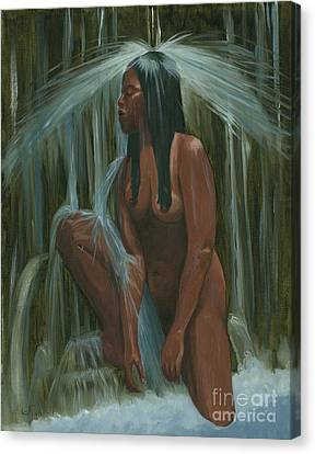 Sacagawea In The Water Cave Canvas Print by Gail Finn