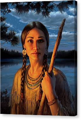Braids Canvas Print - Sacagawea by Mark Fredrickson