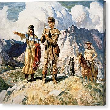 Clothing Canvas Print - Sacagawea With Lewis And Clark During Their Expedition Of 1804-06 by Newell Convers Wyeth