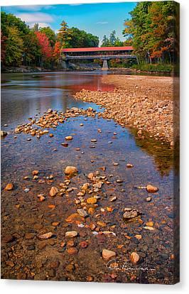 Saco River Bridge 8942 Canvas Print by Dan Beauvais