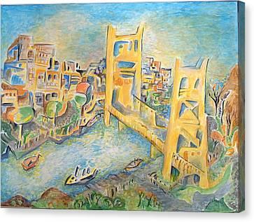 sacramento Bridge Canvas Print by Joan Landry