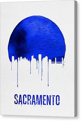 Europe Canvas Print - Sacramento Skyline Blue by Naxart Studio