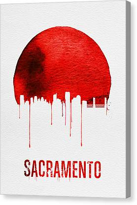 Sacramento Skyline Red Canvas Print