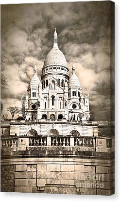 Sacre Coeur Sepia Canvas Print by Jane Rix
