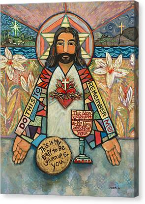 Sacred Heart Of Jesus Canvas Print by Jen Norton