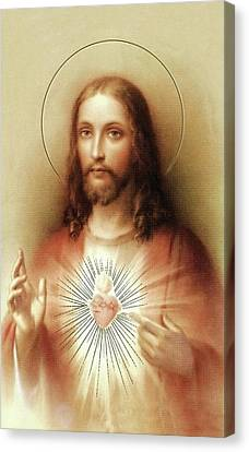 Canvas Print featuring the mixed media Sacred Heart Of Jesus by Movie Poster Prints