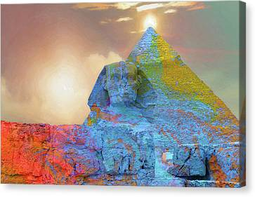 Sacred Places - The Great Sphinx Of Giza In Front Of The Great Pyramid Canvas Print by Serge Averbukh