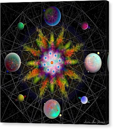 Sacred Planetary Geometry - Dark Red Atom Canvas Print by Iowan Stone-Flowers