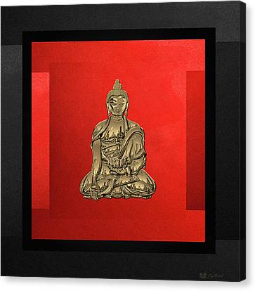 Sacred Symbols - Gold Buddha On Black And Red  Canvas Print