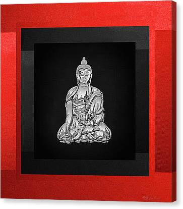 Sacred Symbols - Silver Buddha On Red And Black Canvas Print
