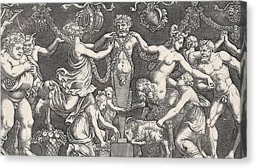 Sacrifice To Priapus Canvas Print by Giulio Romano