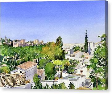 Sacromonte And The Alhambra Granada Canvas Print