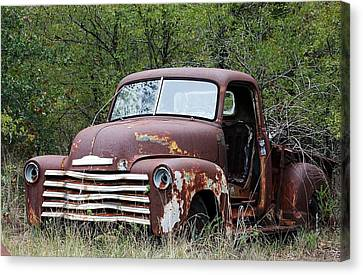 Canvas Print featuring the photograph Sad And Lonely Abandoned Chevy Truck by Sheila Brown