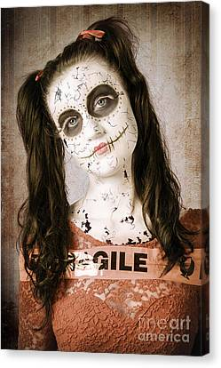 Sad And Ruined Sugarskull Doll With Shattered Face Canvas Print by Jorgo Photography - Wall Art Gallery