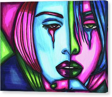 Sad Crying Woman Face Abstract Art Canvas Print