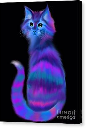 Canvas Print featuring the painting Sad Eyed Colorful Cat by Nick Gustafson