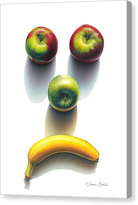 Canvas Print featuring the drawing Sad Fruit Shadows by Donna Basile