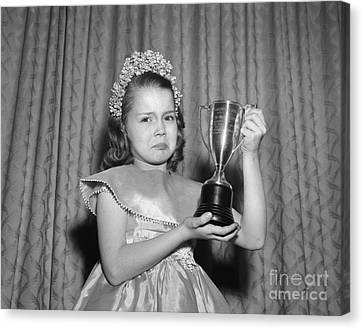 Sad Girl With Second Place Trophy Canvas Print by Debrocke/ClassicStock