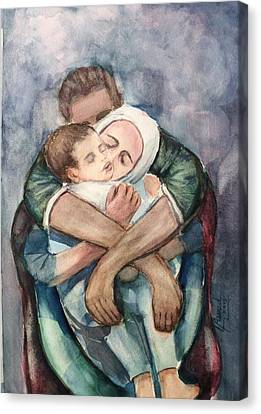 Canvas Print featuring the painting The Saddest Moment by Laila Awad Jamaleldin