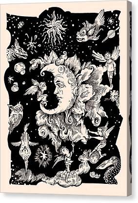 Sad Moon Canvas Print by Theresa Taylor Bayer
