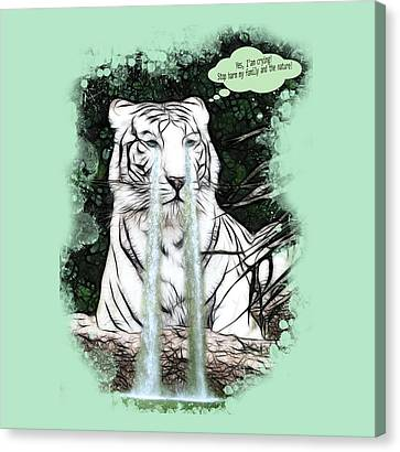 Sad White Tiger Typography Canvas Print